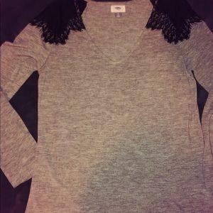 Grey Long Sleeve Laced Shirt
